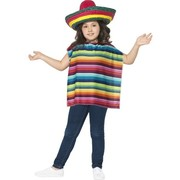 Child Instant Mexican Costume Kit (Poncho & Sombrero Only) Pk 1