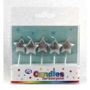 Glitter Silver Stars Party Candles Pk 5