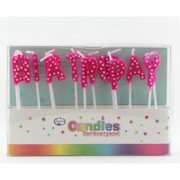 Pink Happy Birthday Candles with White Dots Pk 1