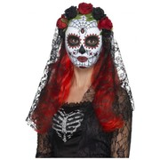 Day of the Dead Plastic Face Mask with Black Lace Veil Pk 1
