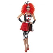 Adult Twisted Harlequin Red & Black Costume (Large, 16-18)