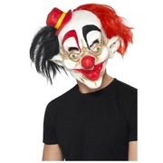 Halloween Adult Creepy Clown Latex Mask with Hair Pk 1