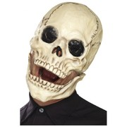 Halloween Adult White Skull Latex Mask with Movable Jaw Pk 1