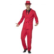 Adult Red Gangster Zoot Suit Costume with Hat (Medium, 38-40)