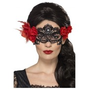 Halloween Day of the Dead Black Lace Eye Mask with Red Roses Pk 1