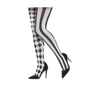 Adult Black & White Harlequin Tights / Stockings Pk 1