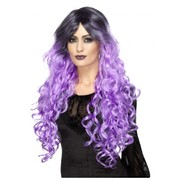 Halloween Purple Gothic Glamour Wig with Dark Roots Pk 1
