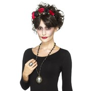 Day of the Dead Skeleton Cameo Jewellery Set (Necklace & Ring) Pk 1