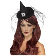 Halloween Mini Black Gothic Witch Hat on Headband with Diamante Veil Pk 1
