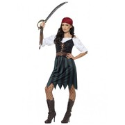 Adult Woman Pirate Deckhand Costume (Small, 8-10)