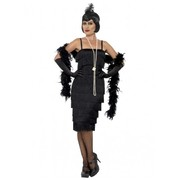 Adult Black Long 20s Flapper Dress Costume (Large, 16-18)