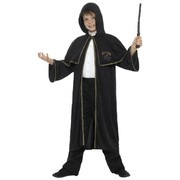 Long Black Child Wizard Cloak with Hood (Medium - Large / CLOAK ONLY) Pk 1