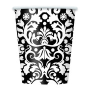 Black & White Damask 9oz Paper Cups Pk 8