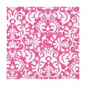 Pink Damask 2 Ply Cocktail Napkins Pk 16