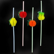 Straws Fruit on Flexi Pk12 (Assorted Designs)