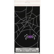 Black Spider Web Halloween Plastic Tablecover (1.3mx2.1m) Pk 1
