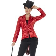 Adult Woman Red Sequin Tailcoat Jacket (Medium, 12-14) Pk 1 (JACKET ONLY)