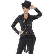 Adult Woman Black Sequin Tailcoat Jacket (Small, 8-10) Pk 1 (JACKET ONLY)