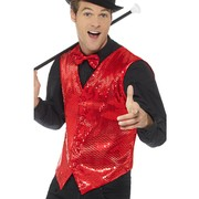 Adult Male Red Sequin Waistcoat Vest (Large, 42-44) Pk 1 (VEST ONLY)