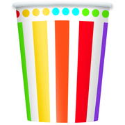 Rainbow Birthday 9oz Paper Cups Pk 8