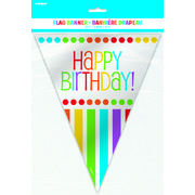 Rainbow Birthday Flag Banner 3.65m Pk 1