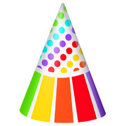 Rainbow Birthday Party Hats Pk 8