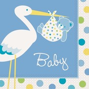 Baby Shower Boy Stork 2 Ply Lunch Napkins Pk 16