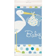 Baby Shower Boy Stork Plastic Tablecover (1.37m x 2.13m) Pk 1