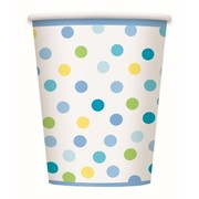 Baby Boy Stork Dots Baby Shower 9oz. Paper Cups Pk 8