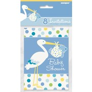 Baby Shower Boy Stork Invitations Pk 8