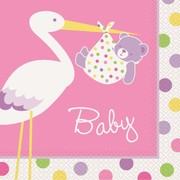 Baby Shower Girl Stork 2 Ply Lunch Napkins Pk 16