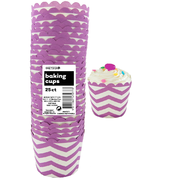Pretty Purple Chevron Zig Zag Baking Cups Pk 25