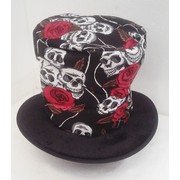 Halloween Day of the Dead Top Hat with Skulls & Roses Pk 1