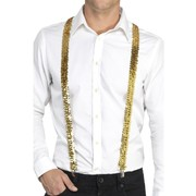 Adult Gold Sequin Suspenders / Braces Pk 1