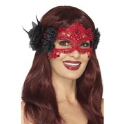 Red Filigree Lace Eye Mask with Black Flowers Pk 1
