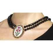 Day of the Dead Black Choker Necklace with Skull Pk 1