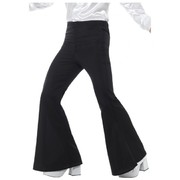 Adult Man Flared Black Disco Trousers Costume (Medium) Pk 1