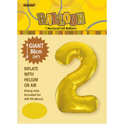 Gold Number 2 Supershape Foil Balloon (34in/86cm) Pk 1