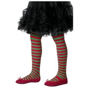 Child Red & Green Stripe Christmas Tights (6-12 Years) Pk 1