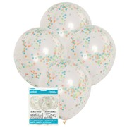 Clear 12in Latex Balloons with Multi Colour Confetti Pk 6