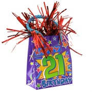 Balloon Weight Giftbag Happy 21 Pk1