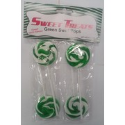 Green Swirl Lollipops (Apple) Pk 4
