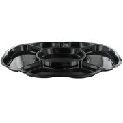 Platter Oval Compartment Black Medium 44x31cm Pk1