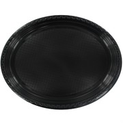 Black Oval Plastic Plates - Large Pk25