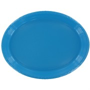 Electric Blue Oval Plastic Plates - Large Pk25