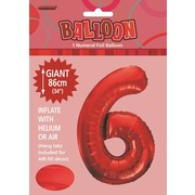 Red Number 6 Supershape Foil Balloon (34in/86cm) Pk 1