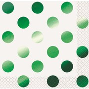 Green Foil Dots Cocktail Napkins Pk 16