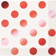 Red Foil Dots Cocktail Napkins Pk 16