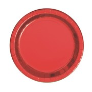 Red Foil 9in. Paper Plates Pk 8