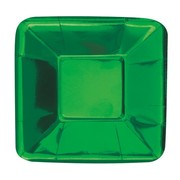 Green Foil 5in. Square Paper Plates Pk 8